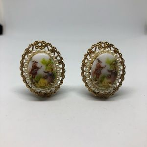 Vintage cameo clip ons